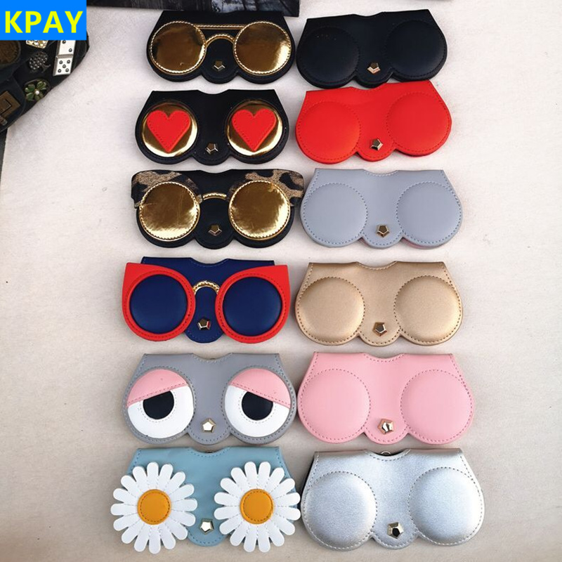 KPAY Unique PU Leather Glasses Bag Cartoon Multi-function Eyeglasses Case Women Sunglasses Storage Protection Ins Popular Cute image