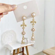 Baroque retro Pearl long  jewelry vintage dangle court trendy drop earrings korean fashion bohemian crystal