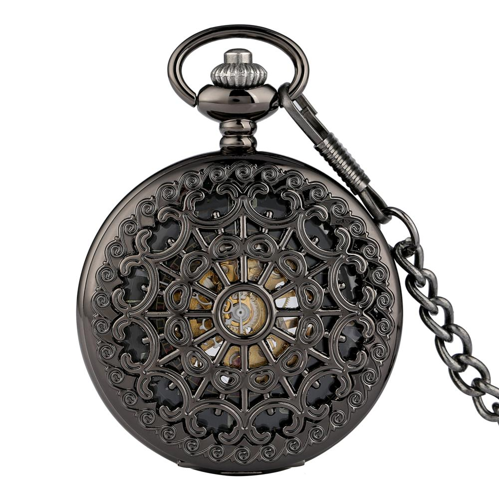 Black Hollow Case Pendant Watches With Skeleton Steampunk Dial Men Women Mechanical Pocket Watch Chain Necklace Clock Accessory