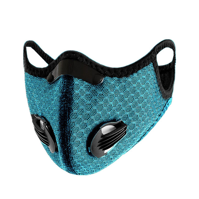 Outdoor Bicycle Bike Sport Face Mask Activated Carbon PM2.5 Mouth Mask Bacteria Proof Protection Mask Sky Blue Mouth-muffle #12 1
