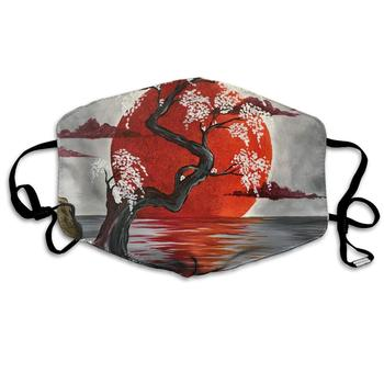 Unisex Print Mouth Mask - Japanese Crimson Moon Art Polyester Anti-dust Mouth-Muffle - Fashion Washed Reusable Face Masks for