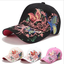 Fashion Flower Butterfly Baseball Cap Woman Embroidery Cotton Snapback Hat Bone Casquette Female Summer Casual HipHop tail goods