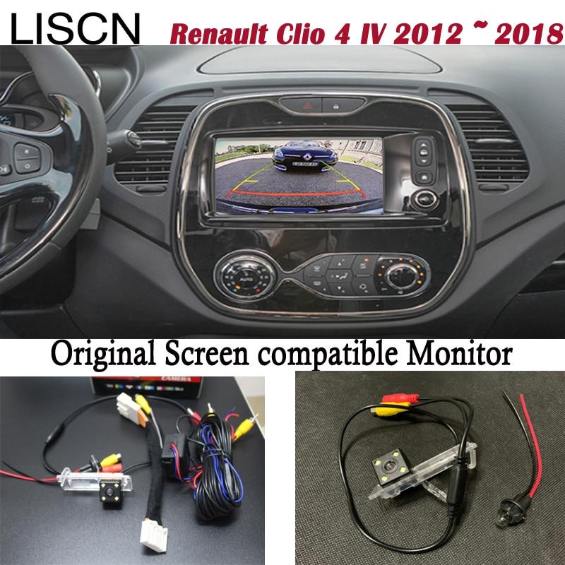 Камера заднего вида для Renault Clio 4 IV 2012 ~ 2018 подключение Оригинального заводского экрана монитора подсветки номерного знака