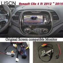 Câmera de retrovisor para renault clio 4 iv, 2012 ~ 2018, conecta original, monitor de tela, luz da placa de licença câmera fotográfica para câmera