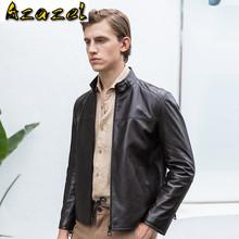 Azazel 2020 kurtki jesienne dla mężczyzn odzież prawdziwa skóra owcza kurtka męski dla motocyklisty ubrania Chaqueta Hombre LXR1045 tanie tanio Z nami (pochodzenie) STANDARD NONE Poliester Kieszenie Stałe Krótki J20380 REGULAR Kożuch Na co dzień zipper Pełna