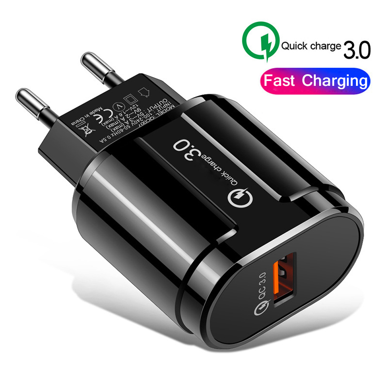 <font><b>QC3.0</b></font> <font><b>USB</b></font> <font><b>Charger</b></font> 5V 3A Fast Charging EU US Plug Adapter Wall Mobile Phone <font><b>Charger</b></font> For iPhone Samsung Xiaomi Travel <font><b>Charger</b></font> image
