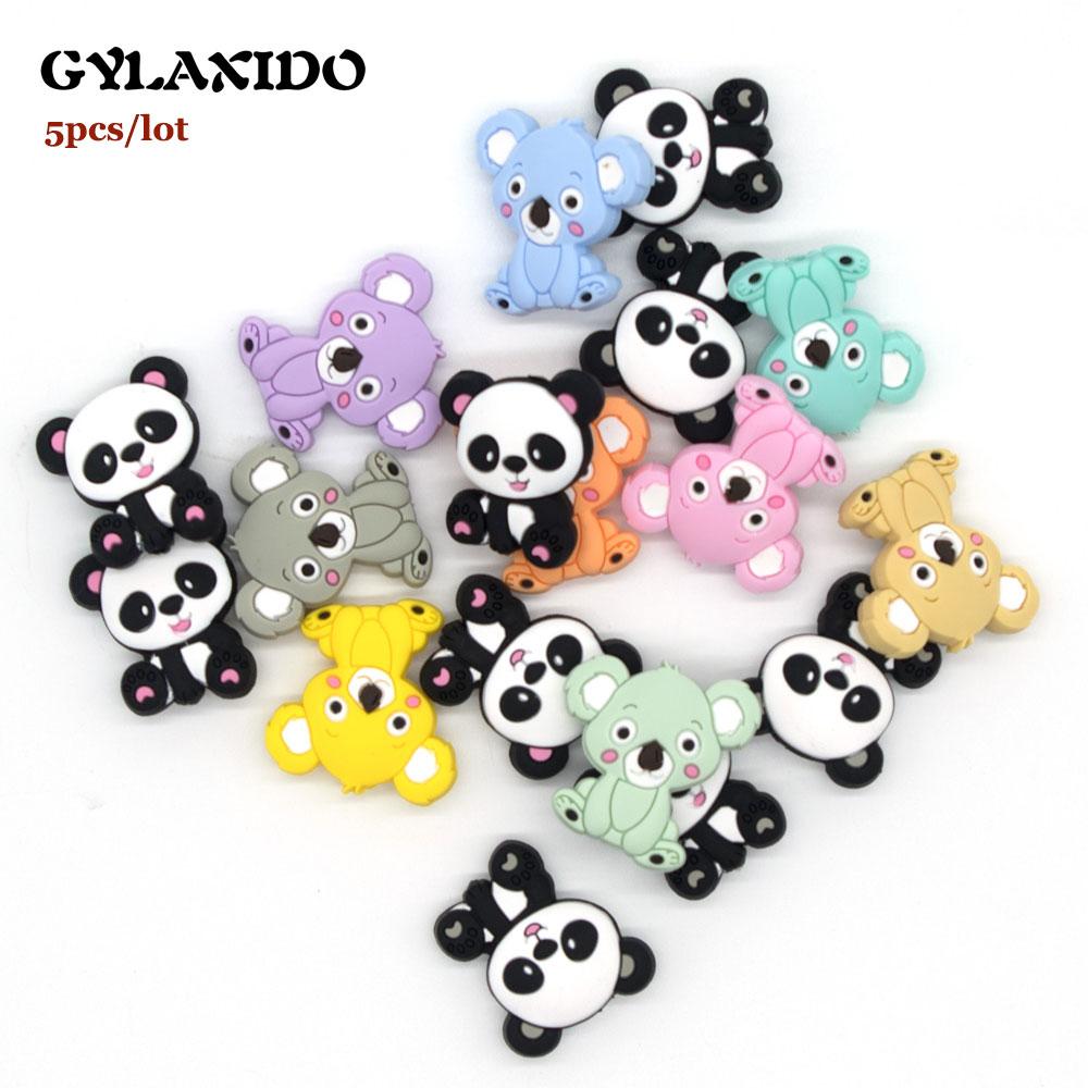 5Pcs Koala Panda Perle Silicone Beads Animal Teething Beads BPA Free Baby Teething Necklace Toys DIY Mordedor Beads Baby Product