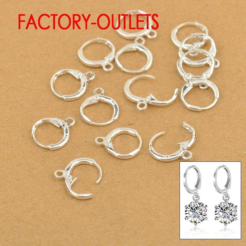 Factory Price 10PCS Lot Fashion Jewelry Findings For DIY Accessories 13MM Hoop Earrings Settings 925 Sterling Silver Earrings