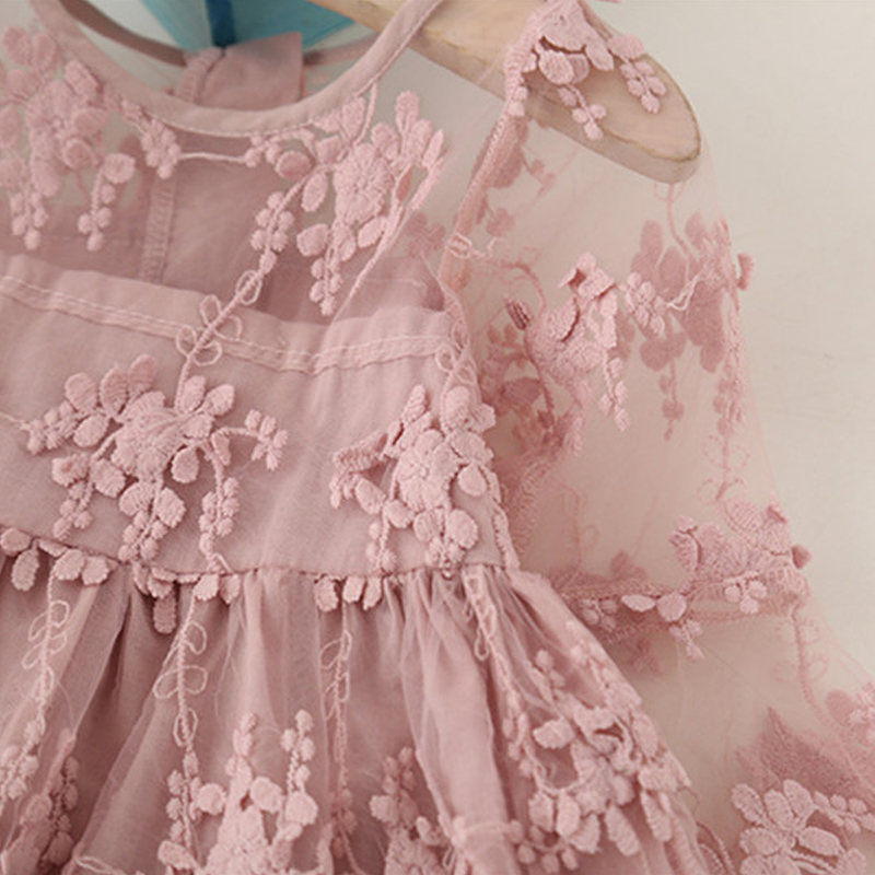 He41d0fb4092643f8899d82223b1a4f2eC Girls Dress 2019 New Summer Brand Girls Clothes Lace And Ball Design Baby Girls Dress Party Dress For 3-8 Years Infant Dresses