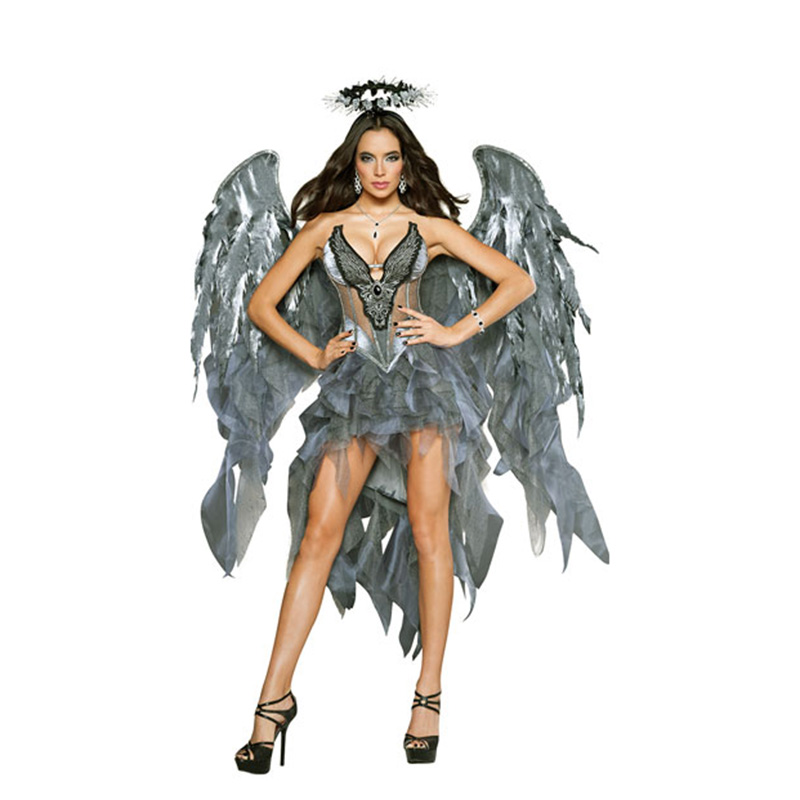 Women Embroidery Devil Costume Adult Sexy White Angel Costume With Wings Women Halloween Cosplay Costume Performance Dresses Out