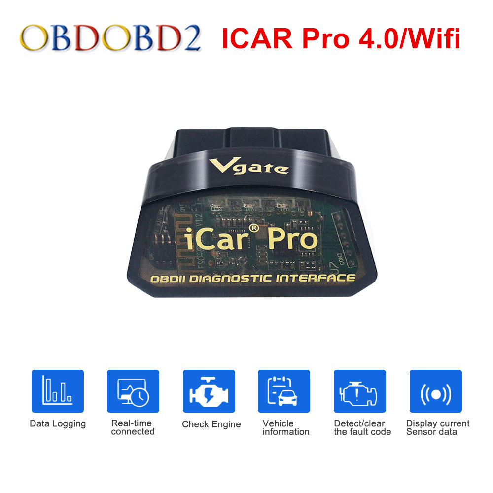 Vgate ICar Pro ELM327 Bluetooth 4.0/WIFI OBD2 Car Diagnostic Scanner For Android/IOS ELM 327 V2.1 OBDII Scanner