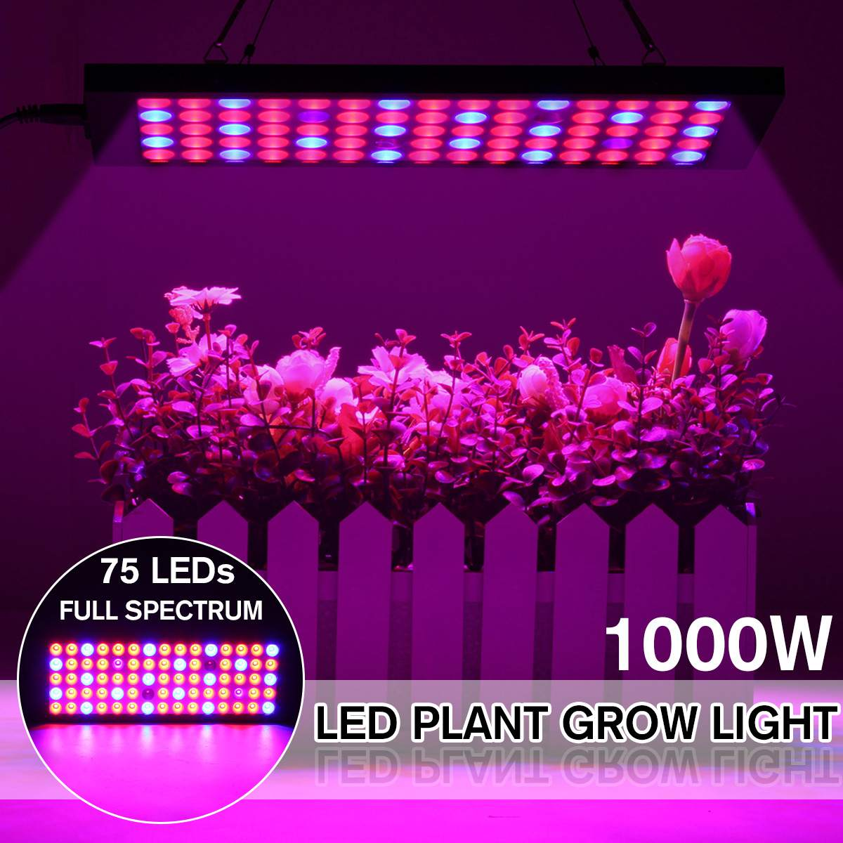 LED Grow Light Full Spectrum 1000W 75LED Double Chip Red/Blue/UV/IR For Indoor Plants For Indoor Plants And Flower Greenhouse