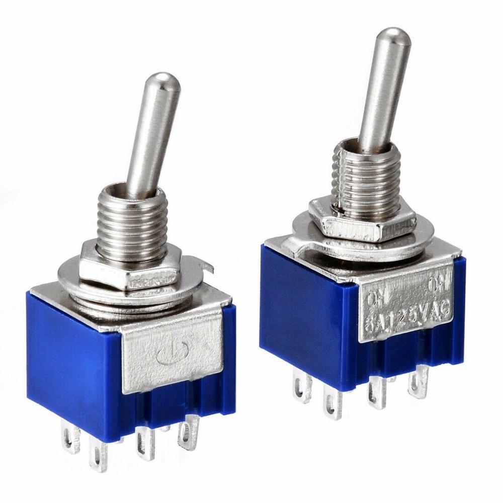 Миниатюрный тумблер с двойным забросом, 5 шт., DPDT (MTS202), 120 В переменного тока, 6A, 1/4 дюйма, монтажный MTS-202