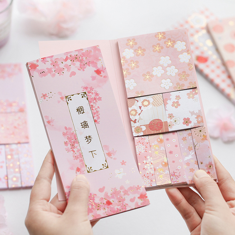 Cute Pink Motif Sakura Peach Strawberry Memo Sheet Pad Sticky Notes Set Stickers Planner To Do List Page Flags Stationery Gift