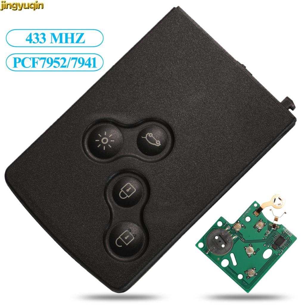 Jingyuqin klucz do kart FSK 433MHZ PCF7952/7941 Chip dla Renault Megane Scenic Laguna Koleos Clio 4 przyciski zdalnego sterowania samochodem