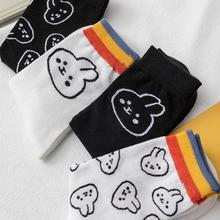 Crew Socks White-Color Cute Embroidery Animal Happy Women Cotton Rabbit Black