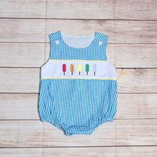 New Fashion Boutique Summer Boys Blue Plaid Sleeveless Five Popsicle Embroidery Pattern Baby Romper