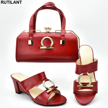 New Arrival Italian Shoes with Matching Bags for Wedding Italy Shoes and Bags To Match for Wedding Nigerian Women Party Pumps cheap RUTILANT Cotton Fabric High (5cm-8cm) Other Wedges Appliques Summer Peep Toe 333-6 Fashion Slip-On 0-3cm Fits true to size take your normal size
