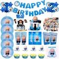 Ребенок босс тематическая вечеринка на день рождения чашка для украшения плиты салфетки торт фигурки жениха и невесты; Воздушных шаров одн...