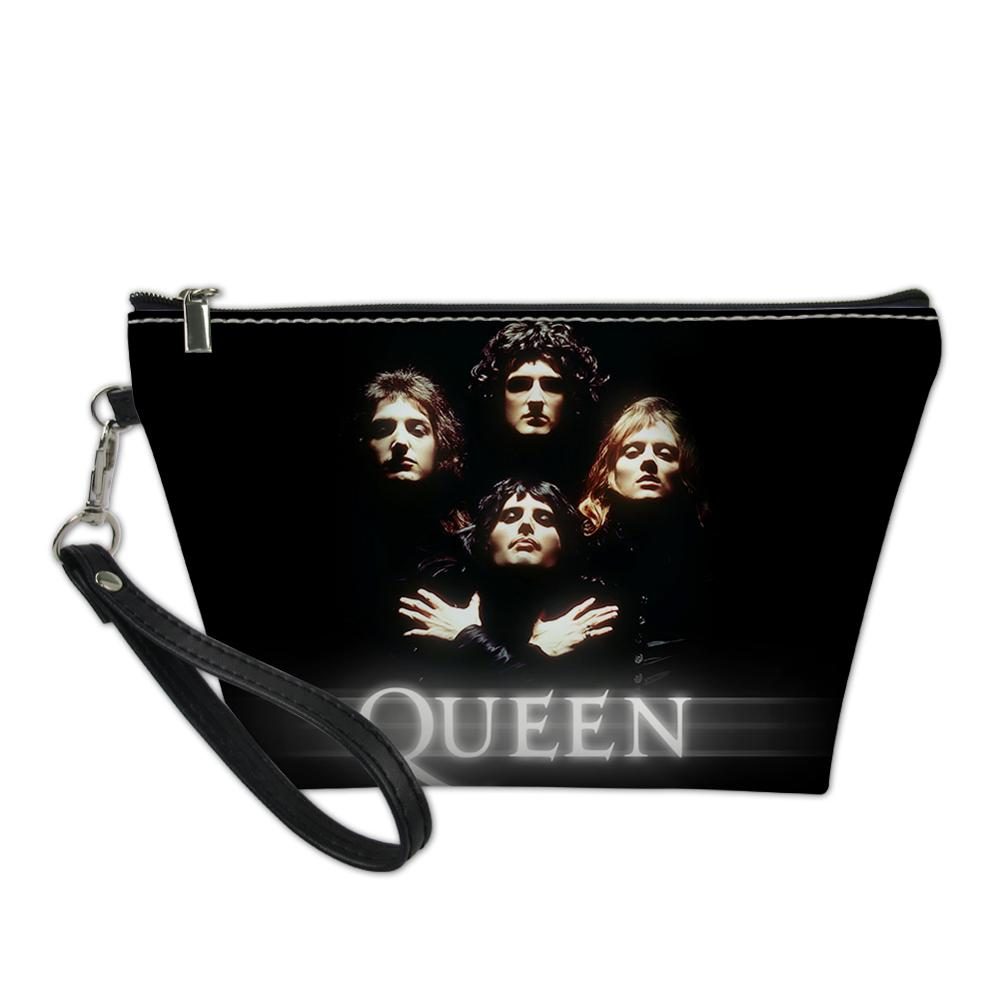 Cool Queen Band Freddie Mercury Cosmetic Bag For Sex Woman Lady Customize Toilette Bag PU Leather Makeup Bag Bolsos Mujer 2019