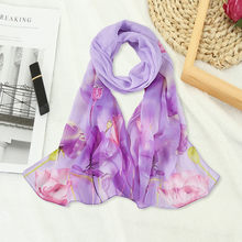 Floral Printed Scarves Women Autumn Winter Boho Beach Shawl Girls Elegant Ladies Casual Long Soft Wrap Scarf Manteau Femme(China)