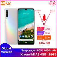 Originale Xiao mi mi A3 6.088 AMOLED 4GB 128GB 48MP Mobile DEL Telefono Snapdragon 665 Octa Core In impronte Digitali dello schermo 4030mAh Cellulare