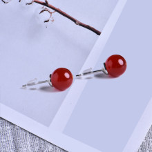 8 Mm Batu Alam Anting-Anting Kristal Kuarsa Bola Beads Perak Sederhana Fashion Liar Anting-Anting Gadis Hadiah(China)