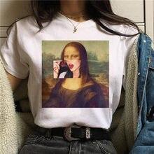 Camiseta de estética de la Mona Lisa harajuku para mujer, remera estampada clásica ullzang para mujer, ropa de los años 90 de dibujos animados, camisetas de estilo coreano