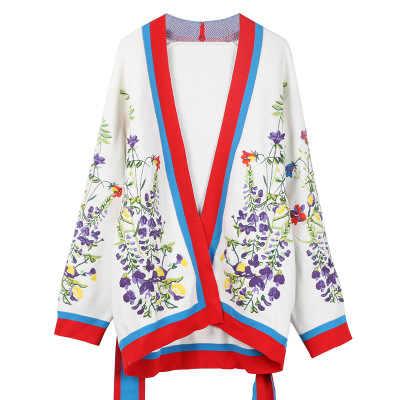 Makuluya kadın tatlı Vintage yüksek kaliteli şerit yün Sashes nakış hırka kazak örme açık dikiş palto L6