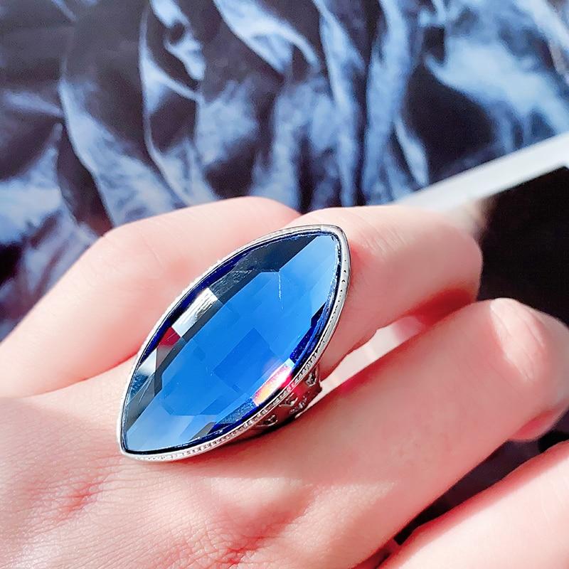 Новые поступления, роскошные кольца Kinel из синего стекла для женщин, серебряный цвет, винтажное свадебное кольцо, рождественский подарок, юв...