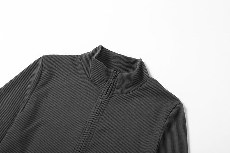 zíper manga longa colheita topo correndo jaqueta