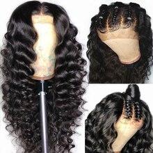 Yyong włosy wstępnie oskubane pełna peruki typu Lace z ludzkich włosów z dzieckiem włosy luźne głęboka fala brazylijska peruka typu Lace Glueless peruka na koronce Remy