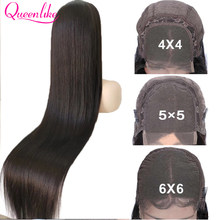 40 42 Inch Brazilian Straight 5x5 6x6 Closure Wigs For Black Women 13x6 HD Lace Frontal Bone Straight Lace Front Human Hair Wigs