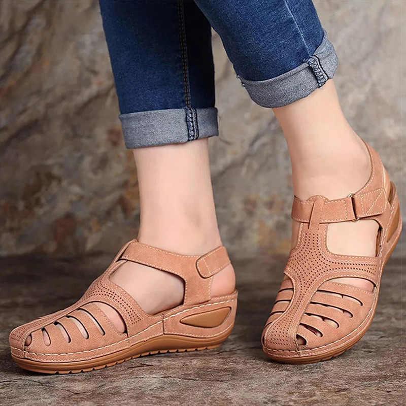 Giày Xăng Đan Nữ 2020 Mới Giày Đế Xuồng Nữ Mùa Hè Giày Sandal Đấu Sĩ Áo Nền Tảng Dép Xăng Đan Đế Xuồng Gót Sandalias Mujer