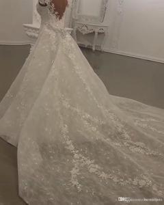 Image 5 - Robe de mariée moderne en dentelle, robes de mariée sirène en dentelle et perles, cristaux brillants, avec application, col montant, robes de mariée de Mariage