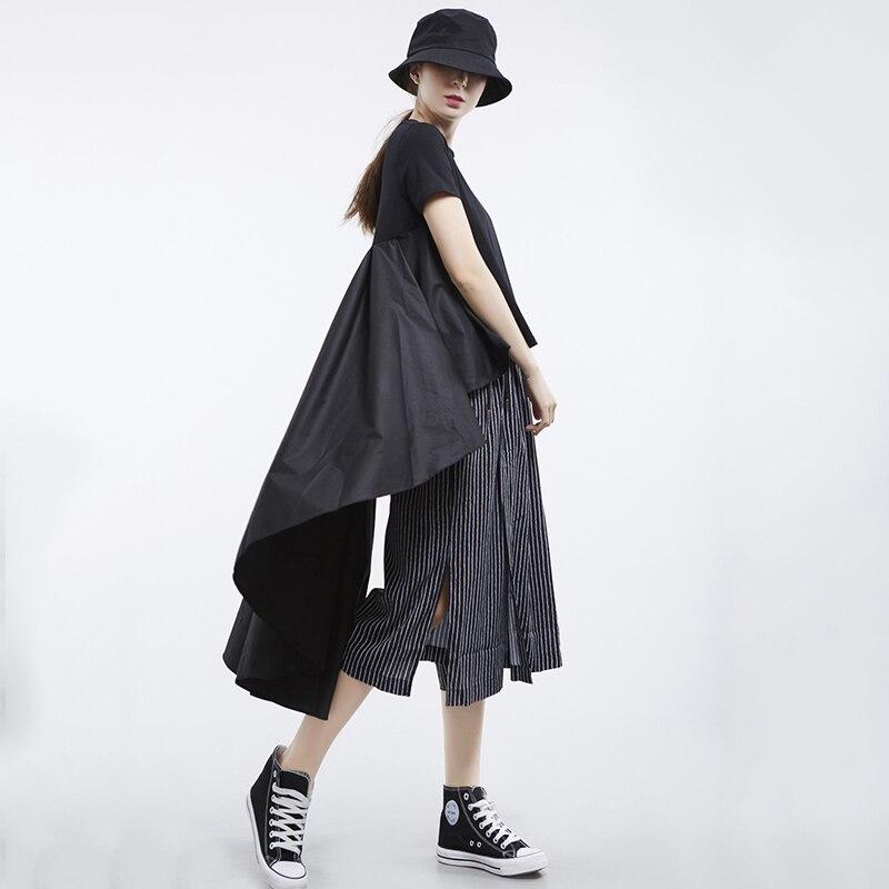 [EAM] 2020 New Spring Summer Round Neck Short Sleeve White Loose Pleated Irregular Hem T-shirt Women Fashion Tide JL867 2