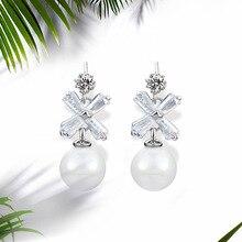 NJ Elegant Romantic Fresh Water Big Pearl Drop Earrings For Women Silver Earrings Fashion Girls Jewelry Earring 2019 Gift