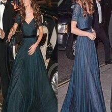 Celebrity Dresses Kate Middleton Blue Short Chiffon A-Line Floor-Length with Elegant