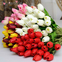 Joy-Enlife 10pcs High Quality Multicolor Simple Manual Style DIY Artificial Tulips Flowers