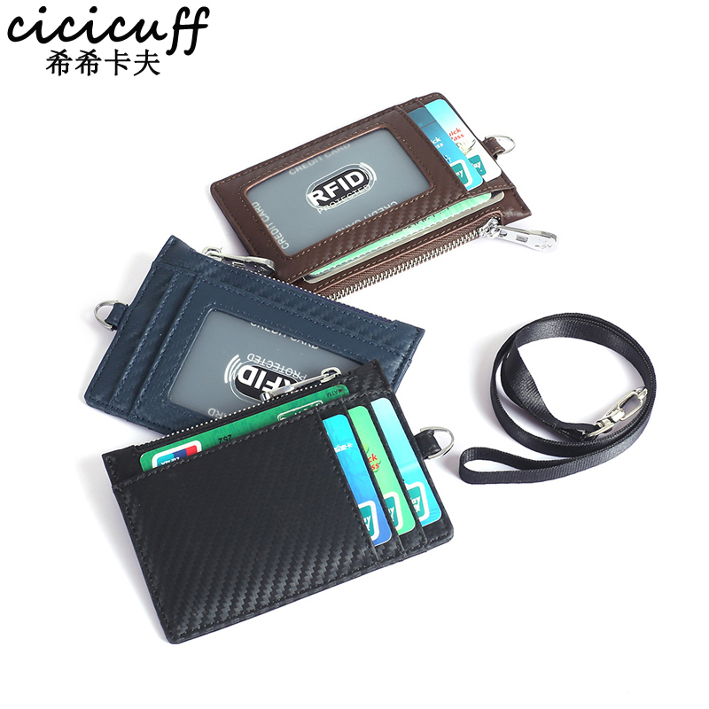 Employee ID Card Badge Holder Genuine Leather Business Bank Credit Card Lanyard Pass Bus Cards Certificate Clip With Neck Strap