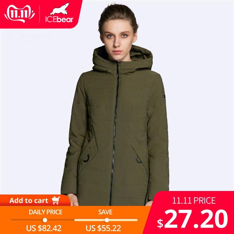 ICEbear 2019 New Women's Jacket Autumn Woman Coat Fashion Female Cotton Denim Color Zipper Design High-quality Coats GWC18135D