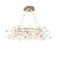 Modern Glass Acrylic Black Gold LED Firefly chandelier Industrial light Fixture living room Dinning Room Hotel Decor Hang lamp