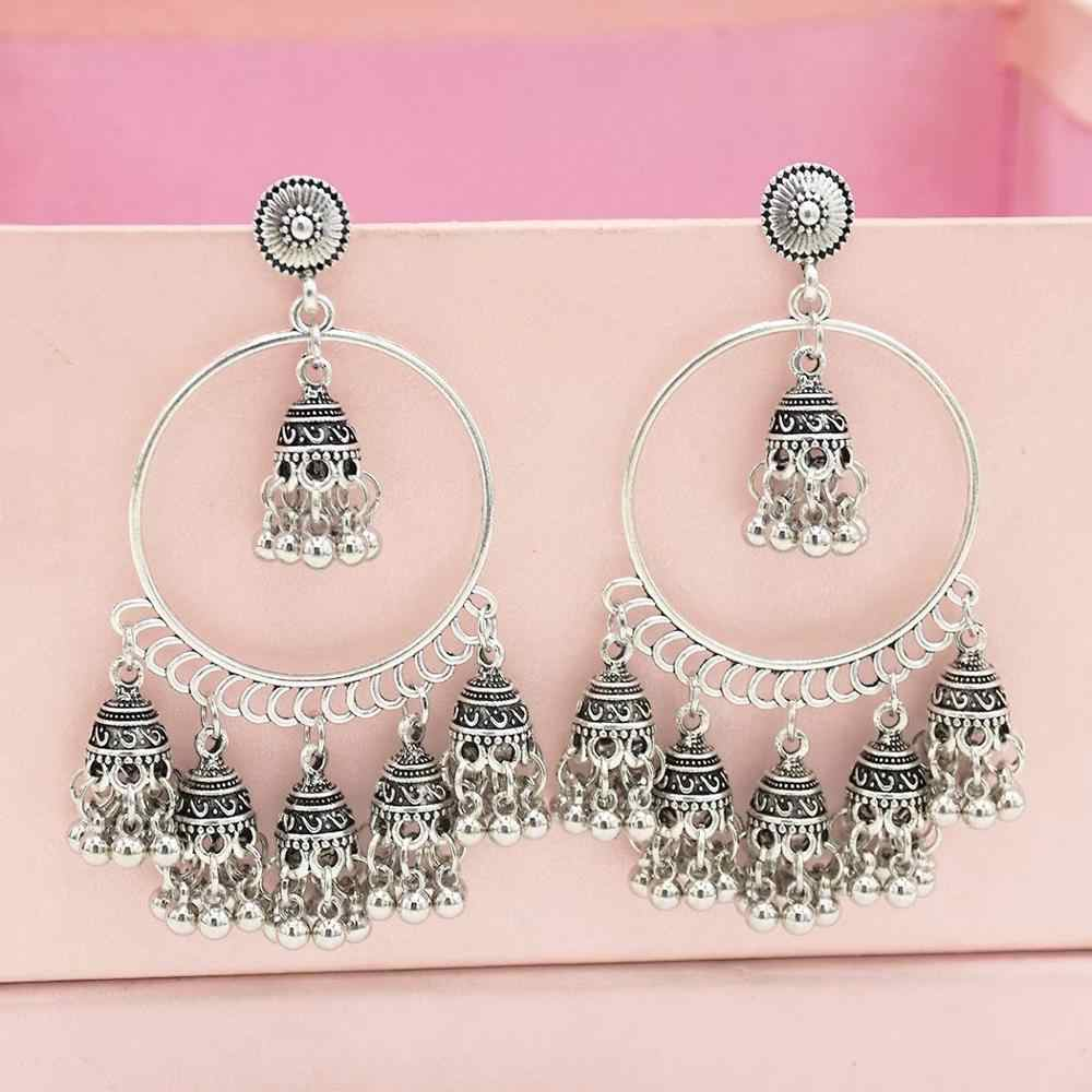 Indian Jhumka Jhumki Drop Earrings Women Big Geometric Bells Tassel Statement Earring Wedding Party Jewelry Afghan Mexico Egypt