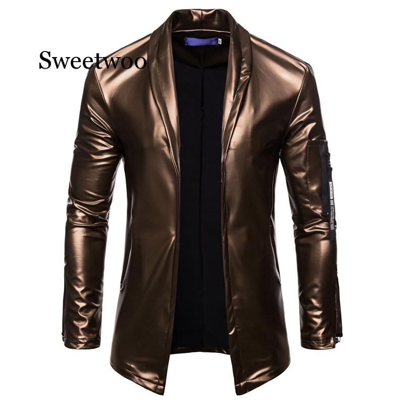 2020 Elastic Zipper Motorcycle Leather Jacket For Men - Lined Stand-up Collar Slimming Leather Jacket