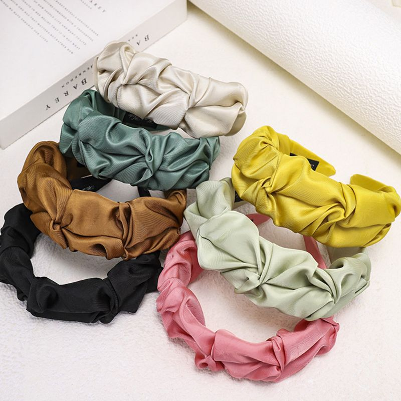 Korean Women Sweet Elegant Wide Headband Bright Solid Candy Color Hair Hoop Wrinkled Ruched Cloth Wrapped Retro Headwear
