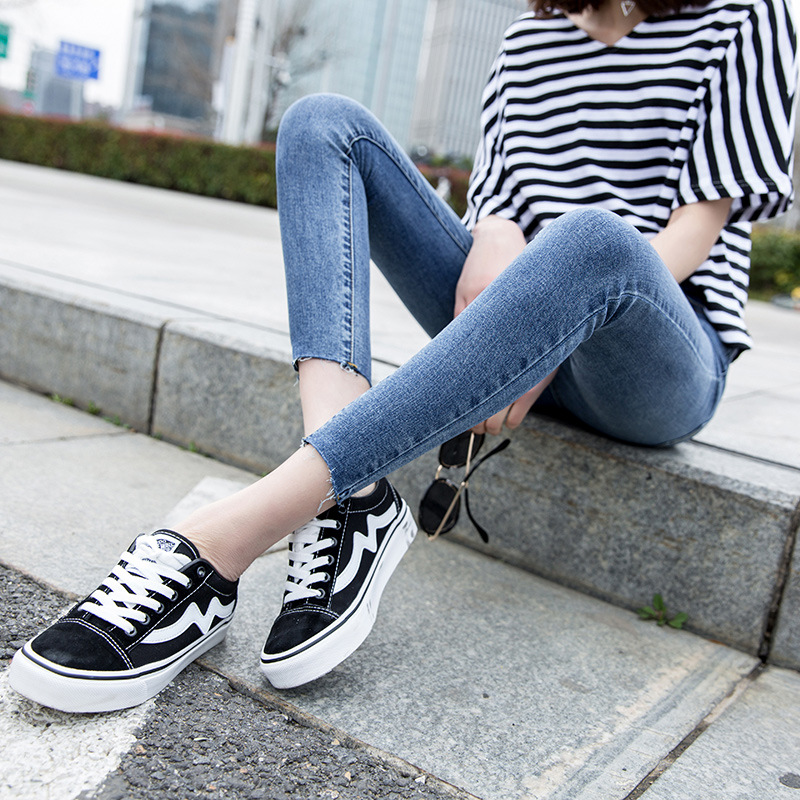Photo Shoot 2019 New Style High-waisted Super Fire Jeans Women's Korean-style Slimming Capri Skinny Pencil Pants