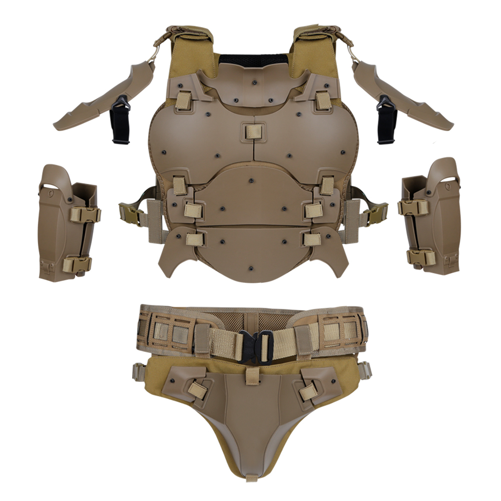 Outdoor Multi-function Tactical Lightweight Armor Suit Adjustable MOLLE Belt Elbow Pad Groin Crotch Protection Airsoft Hunting