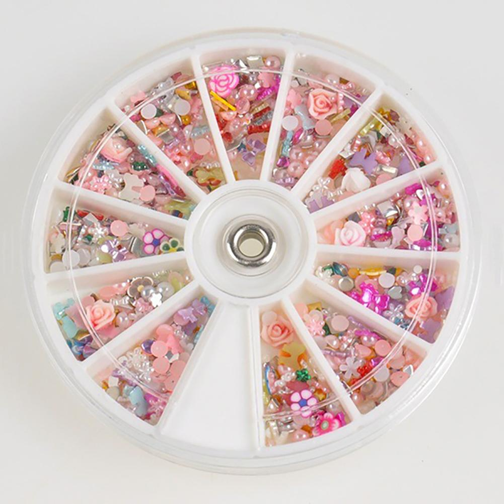 200 Pcs Mixed Flowers Bowknot Nail Art Tips Glitters Slice Rhinestone Acrylic Nail Stones Manicure Nail Decoration
