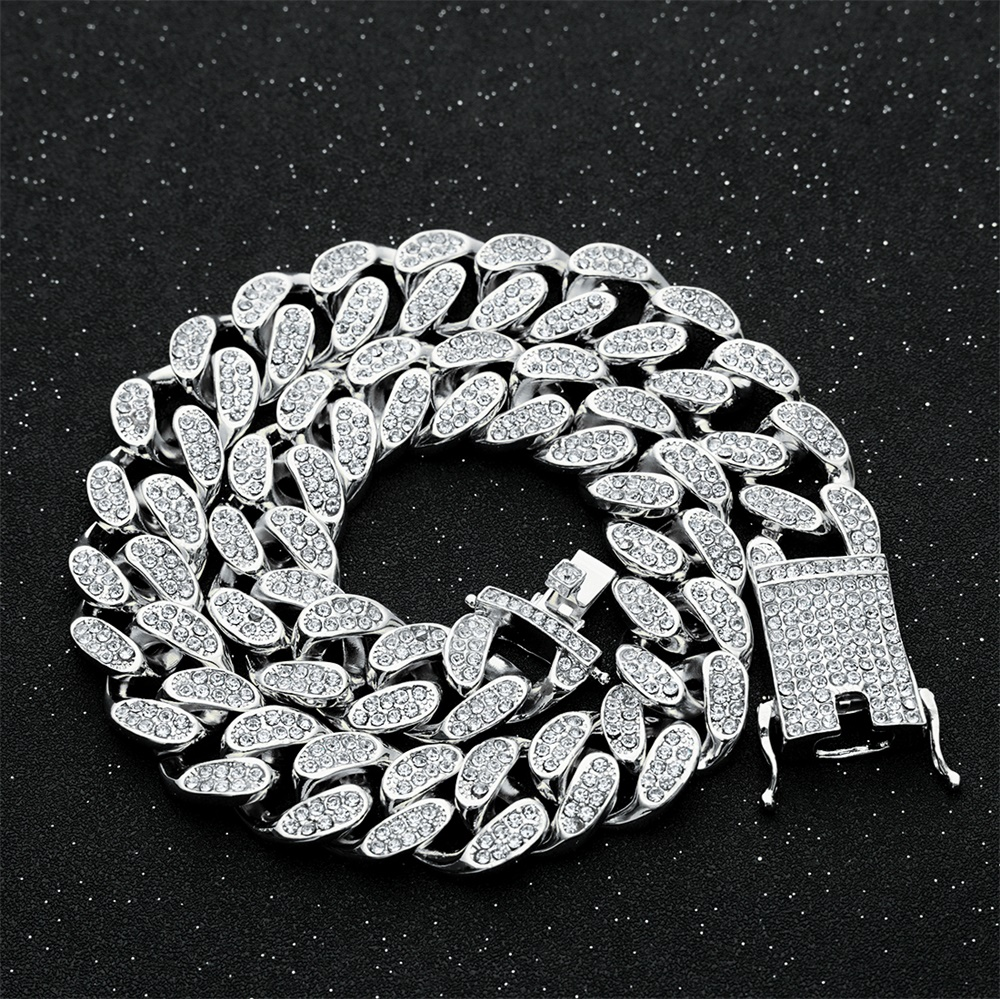 20mm Men Hip hop Iced Out Bling Full Pave Rhinstones Chain Necklace Fashion CZ Miami Cuban Chains Necklaces Hiphop for Unisex