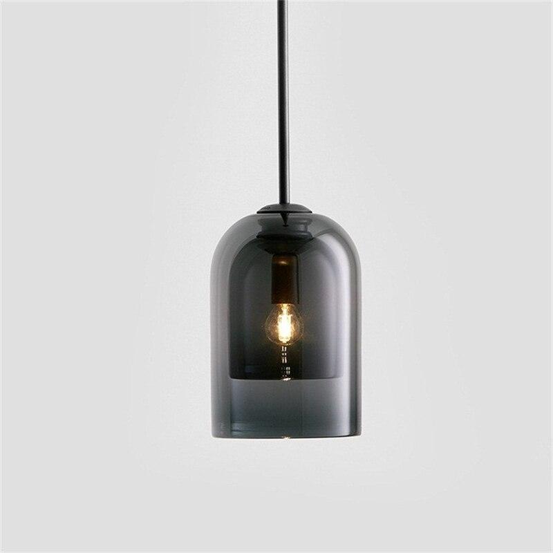 Commercial led intérieur décor suspension lampe vintage simple cloche forme 2 couches verre luminaires